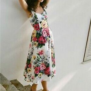 Anthropologie Floral Toile Dress